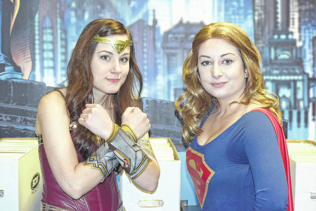 Shayna Pettijean (Wonder Woman) and Kendra Reynolds (Supergirl) at Alter Ego Comics for the annual Halloween ComicFest