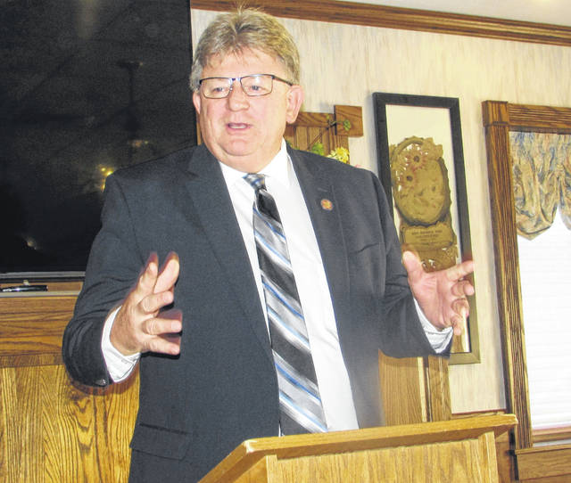 Jim Hoops, House of Representatives District 81, speaks to Ottawa Area Chamber of Commerce members Friday at Henry's Restaurant in Ottawa.