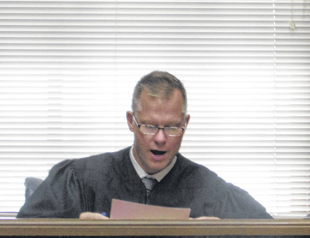 Putnam County Common Pleas Court Judge Keith Schierloh presides over the case of Kenneth Richey Thursday morning.
