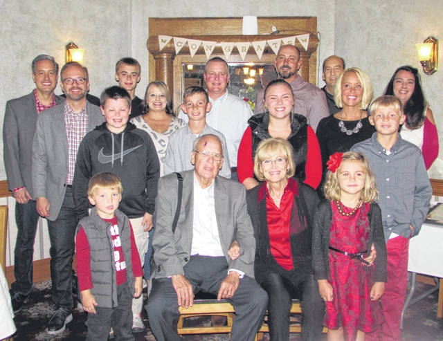 Pictured are Richard and Paulette Schnipke with their family at an open house at Red Pig Inn Tuesday night celebrating nearly 45 years of ownership.