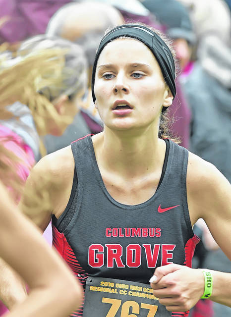 Columbus Grove's Alyssa Ellerbrock competes in Saturday's Division III regional at Hedges-Boyer Park in Tiffin. Richard Parrish | The Lima News