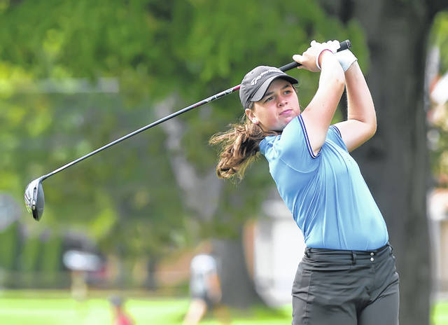 Lima Central Catholic's Mary Kelly Mulcahy watches her tee shot on the sixth hole during Friday's Division II State Tournament at The Ohio State University Gray Course in Columbus. Mulcahy opened the two-day event with a 3-over-par 73.