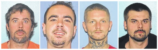 This combination of undated images provided by the Gallia County Sheriff's Office shows from left to right, Brynn Martin, Christopher Clemente, Troy McDaniel Jr. and Lawrence Lee III. Three of the four inmates who overpowered two female corrections officers and escaped from an Ohio county jail on Sunday, Sept. 29, 2019, were caught in North Carolina Monday, Sept. 30. The overcrowded Ohio county jail where the inmates escaped has been repeatedly cited by state inspectors for its lack of a security perimeter, broken security cameras, no two-way radio system and the failure by administrators to show whether corrections officers conducted contraband searches or performed daily counts of inmates.