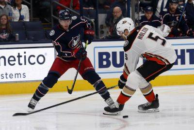 Columbus Blue Jackets forward Riley Nash, left, passes the puck against Anaheim Ducks defenseman Korbinian Holzer, of Germany, during the second period of Friday night's game in Columbus. (AP photo)