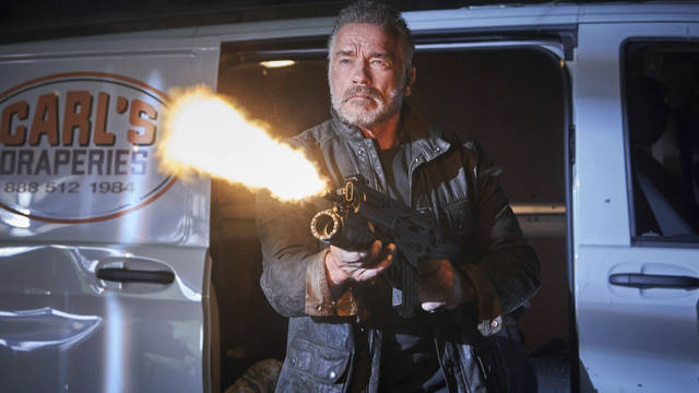 "This image released by Paramount Pictures shows Arnold Schwarzenegger in ""Terminator: Dark Fate."" (Kerry Brown/Paramount Pictures via AP)"