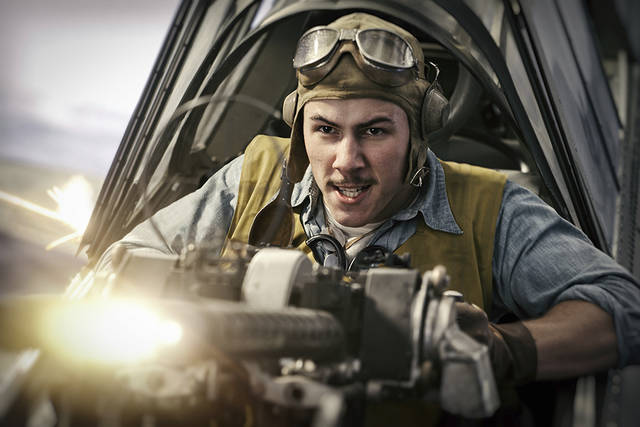 """This image released by Lionsgate shows Nick Jonas in a scene from """"Midway."""""""