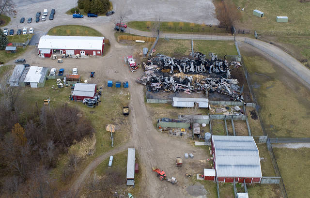 An aerial photo shows the barn that caught fire at African Safari Wildlife Park in Port Clinton. At least 10 animals were killed in a barn fire there Thursday night.