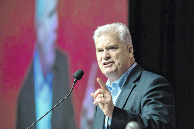 "Rep. Tom Emmer, R-Minn., speaks during the Republican state convention in Duluth, Minn., in June 2018. Republicans have high hopes of using the House drive toward impeaching President Donald Trump to defeat Democrats from swing districts loaded with moderate voters. ""This process they're embarking on is going to cost them their majority next fall,"" said Emmer, who heads his party's House campaign committee. He said Democrats have ""an obsession"" with impeachment, adding, ""It's just getting worse for them."""
