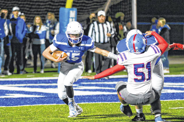 Allen East's Bryce Belcher has proven to be a dual threat quarterback as he has passed for more than 1,400 yards and is the team's leading rusher with more than 500 yards.