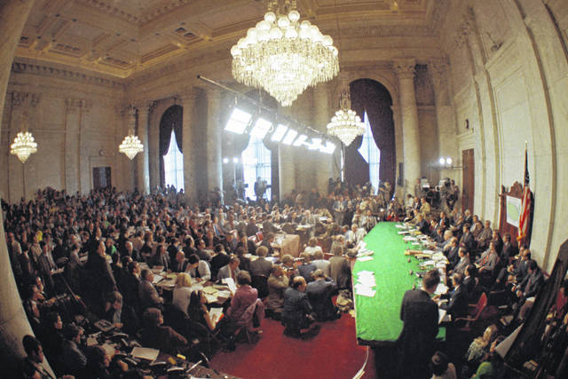 "FILE - In this May 18, 1973, file photo, the hearing of the Senate select committee on the Watergate case on Capitol Hill in Washington. In 1973, millions of Americans tuned in to what Variety called ""the hottest daytime soap opera"" _ the Senate Watergate hearings that eventually led to President Richard Nixon's resignation. For multiple reasons, notably a transformed media landscape, there's unlikely to be a similar communal experience when the House impeachment inquiry targeting Donald Trump goes on national television starting Nov. 13, 2019."
