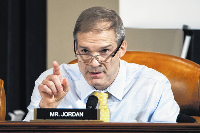 U.S. Rep. Jim Jordan, R-Urbana, speaks during a House Intelligence Committee hearing on Capitol Hill in Washington on Wednesday. Jordan has been an active participant in the hearings, often defending President Donald Trump during the early public impeachment inquiry hearings about efforts to tie U.S. aid for Ukraine to investigations of his political opponents.