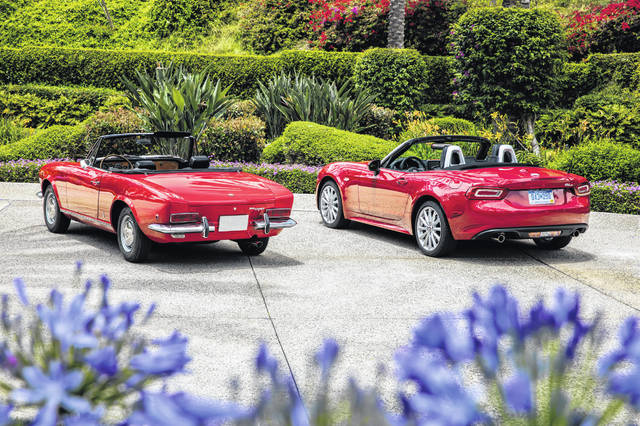 A 1968 Fiat 124 Spider and 2020 Fiat 124 Spider Abarth can be seen side by side.