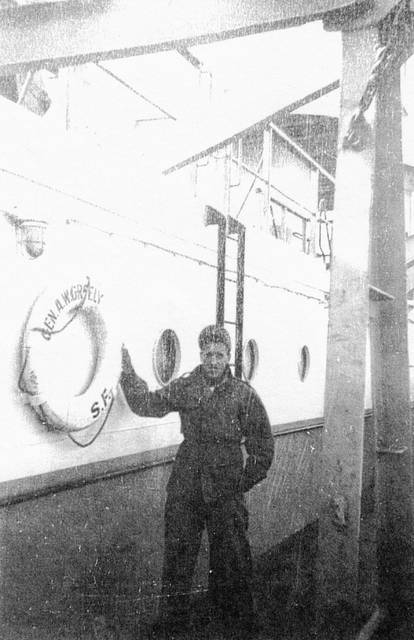 Richard Billingsley aboard the USS Gen. A.W. Greely returning to the United States after World War II.