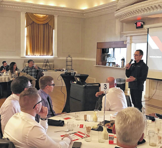 FlexArm President Nick Kennedy talks about the company's new campus during the Wapakoneta Area Economic Development Council's annual meeting on Nov. 6.