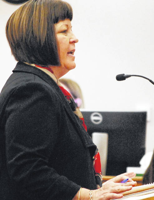 Assistant Allen County Prosecuting Attorney Jana Emerick gives her closing arguments to jurors Tuesday in the trial of Lima resident Tommie Jefferson Sr. The jury deliberated for less than an hour before finding Jefferson guilty of trafficking in cocaine.