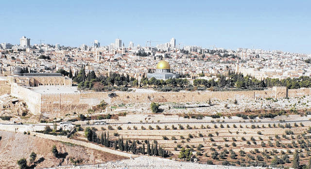 Pictured is the old and new cities of Jerusalem.
