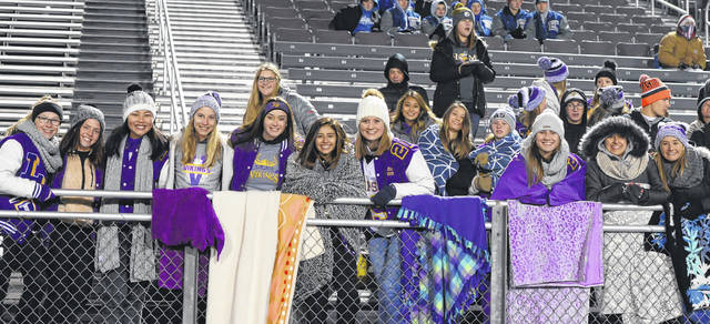 Leipsic students cheer on the Vikings during Saturday's night's Division VII regional semifinal against Edgerton at Charles Buckenmeyer Stadium in Napoleon.