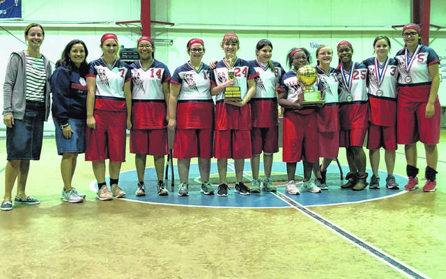 The Lima Christian Academy Lady Lions were crowned BCSO Division II volleyball champions at the Buckeye Christian School Organization's 2019 Volleyball and Soccer Tournaments on Oct. 25-26. Eleven schools from all across Ohio traveled to Lima for two days of season-ending competition. The Lady Lions were also awarded the 2019 Division II Sportsmanship Trophy. Pictured, from left, Coach Sarah Whited, assistant coach Shannon Mellano, Audrian Combs, China Rudolph, Grace Korwin, Charis Stump, August McKirgan, Giana Rudolph, Taylor Brouillette, Treyvonna Rudolph, Sarah Fickel and Lucy Garcia