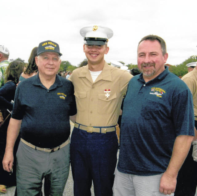 From left, David May, U.S. Navy, USS Moale DD693; Nicholas David May, lance corporal U.S. Marine Corps; and David May III, U.S. Navy, USS Mississippi, CGN40.