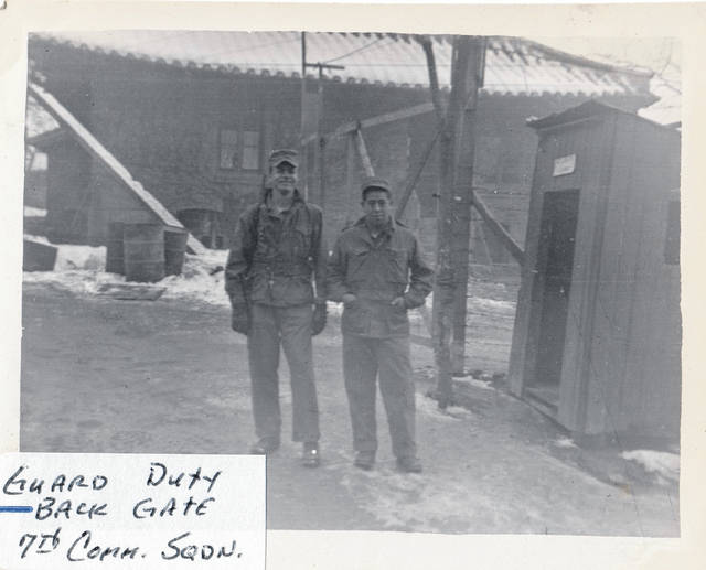 Bill Moore works guard duty at the back gate while serving in the 7th Communications Squadron.