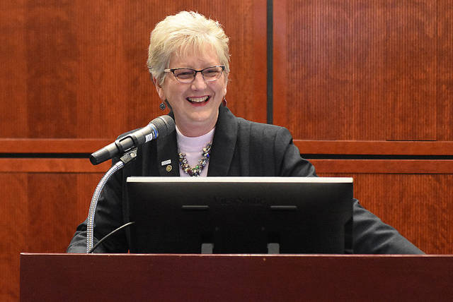 Dr. Cynthia Spiers addresses faculty and students after being selected as the next President of Rhodes State College during an announcement Wednesday at Rhodes State. Craig J. Orosz | The Lima News