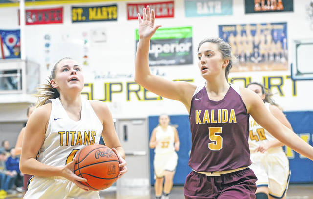Ottawa-Glandorf's Kelsey Erford goes up for a shot against Kalida's Grace Klausing during Friday night's game at Robert J. Hermiller Gymnasium in Ottawa.