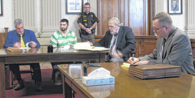 From left are Attorney Bob Grzybowski, defendant Travis Soto, Chris Slick of the Putnam County Sheriffs Office, Attorney Bill Kluge and Putnam County prosecutor Gary Lammers in Putnam County Common Pleas Court Monday.