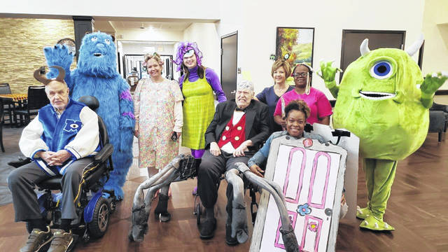 "The staff and residents at The Springs of Lima held a Halloween party. This included a costume contest for resident and staff groups. The night shift employees brought to life Disney favorite ""Monsters Inc."" and took home the prize for best overall group. Share your photos at j.mp/limaphotos."