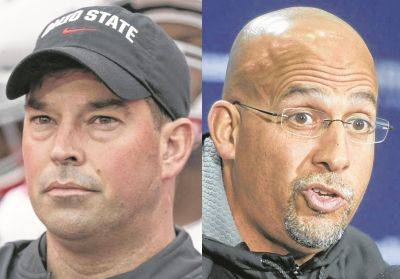 Coaches Ryan Day of Ohio State, left, and James Franklin of Penn State.