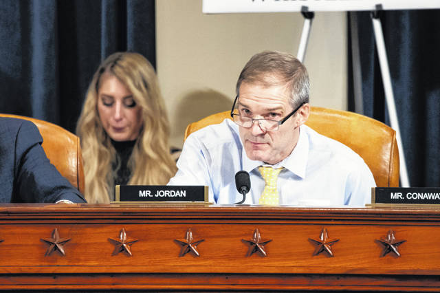 Rep. Jim Jordan R-Ohio, questions Gordon Sondland, US Ambassador to the European Union, during a House Intelligence Committee impeachment inquiry hearing on Capitol Hill in Washington, Wednesday, Nov. 20, 2019.