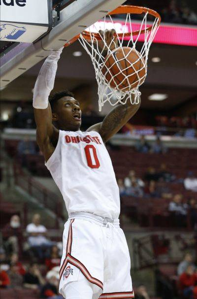 Ohio State's Alonzo Gaffney converts a dunk during Friday night's game against Morgan State in Columbus. Ohio State beat Morgan State 90-57. (AP photo)