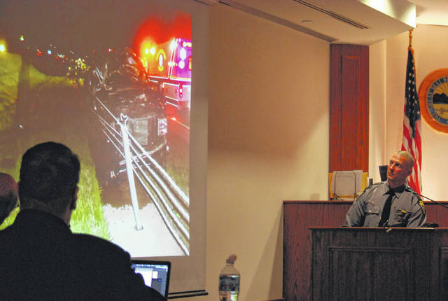 Jurors in the trial of John Robinson on Wednesday viewed photos of the crash scene from May 2018 that claimed the life of a young Michigan boy last year near Beaverdam.