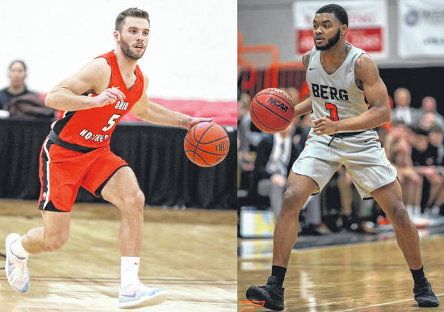 Elida graduate Austin Allemeier, left, and Lima Central Catholic grad Josh Dixon are in their final seasons for Division III Ohio Northern University and Heidelberg University respectively.