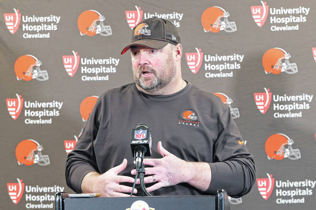 Cleveland Browns head coach Freddie Kitchens answers questions during a news conference after an NFL football game against the Pittsburgh Steelers, Sunday, Dec. 1, 2019, in Pittsburgh. (AP Photo/Don Wright)
