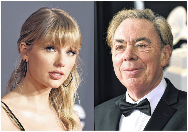 "Taylor Swift, left, and Andrew Lloyd Webber, right, were nominated for a Golden Globe award for best original song for ""Beautiful Ghosts,"" from the film ""Cats."""