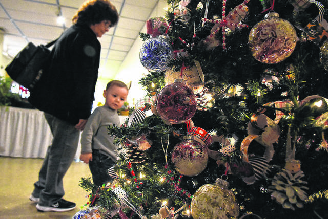 Cheryl Dotson of Lima, looks at Christmas trees with her nephew, Carson Long, 2, at the 46th Annual Christmas Tree Festival held at the Allen County Museum.