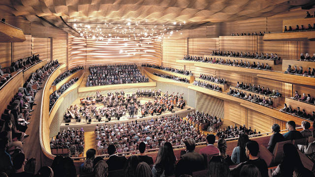 This artist rendering released by the New York Philharmonic shows the new design of the interior of Geffen Hall, part of a $550 million renovation project slated to be complete by March 2024.