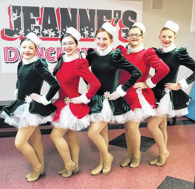 From left are Jeanne's Dance studio dancers in costume ready to perform in Disney World, Madeline Warner, Jenna Blanchong, Addison Austin, Triniti Frueh and Callie Wieging.