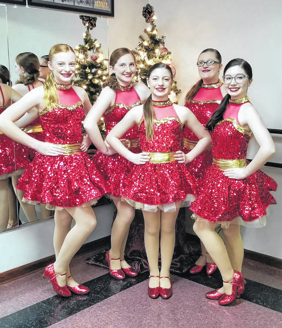 Front row from left are Jeanne's Dance Studio dancers Callie Wieging, Madeline Warner, Jena Blanchong; back row, Addison Austin and Triniti Frueh.