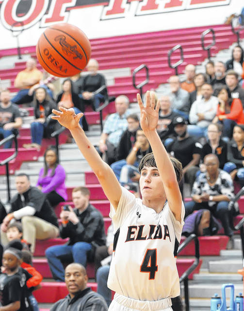 Elida's Riley Creps shoots against Middletown during Sunday's Coach Q Holiday Showcase at Lima Senior High School.