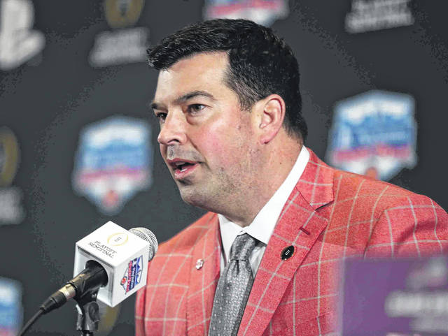 Ohio State head coach Ryan Day speaks during the Playstation Fiesta Bowl press conference Friday.