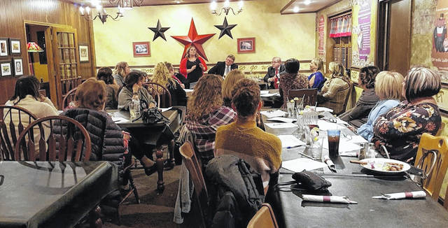 Pictured is Gabrielle Martin, Putnam County Republican Women's Club president, speaking at the organization's first meeting at Red Pig Inn in Ottawa.