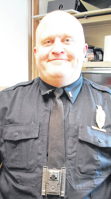 A body camera, like the one shown on Lima Police Department Lt. Ronald Holman, is required for every member of the Lima Police Department who are the rank of lieutenant and lower.