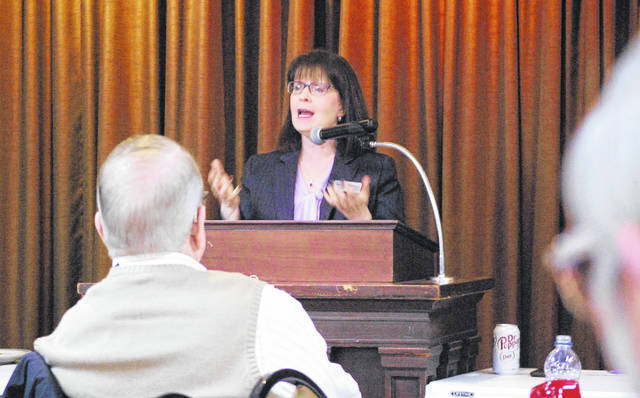 Judi French, an associate justice on the Ohio Supreme Court, was the guest speaker Friday at the monthly Allen County Republican Party luncheon. French is running for a new six-year term in 2020 and used Friday's event to introduce herself to county GOP voters.