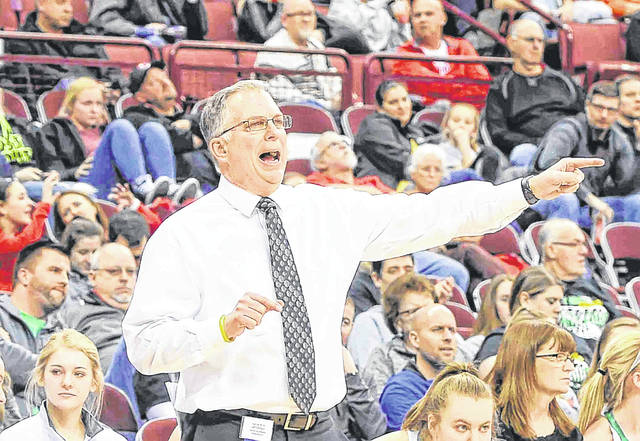 Ottoville girls basketball coach Dave Kleman shouts instructions during a state tournament game. Kleman retired after the 2018-19 season after 27 years and 532 wins at Ottoville.