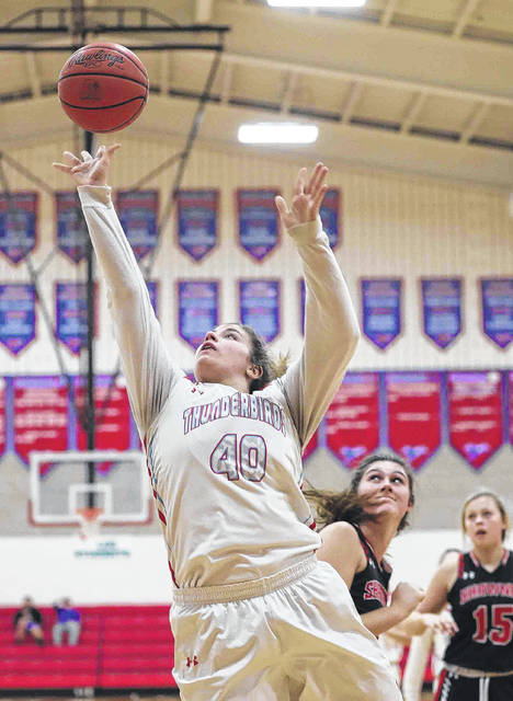 Lima Central Catholic's Rosie Williams puts up a shot during Saturday's game against Shawnee at LCC.