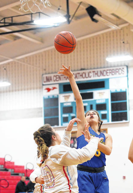 Delphos St. John's Melanie Koenig goes up strong against Lima Central Catholic's Rosie Williams during Monday's game at Msgr. Edward C. Herr Gymnasium.