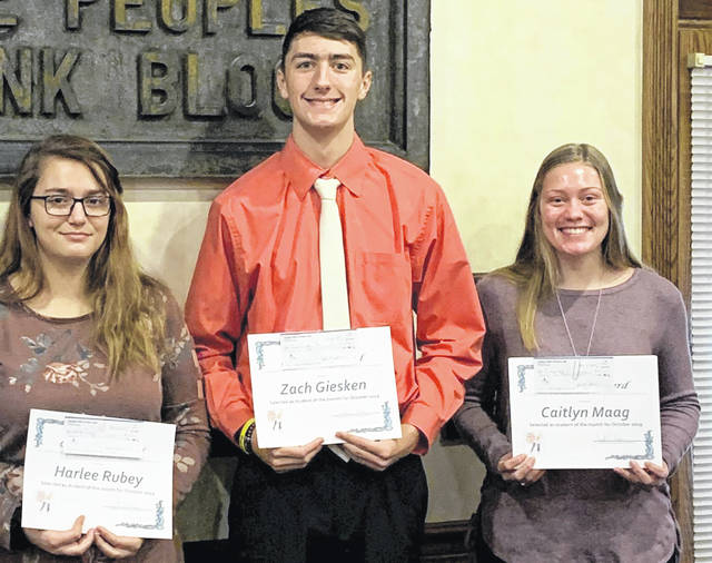 Putnam County Optimist Club's October Character Award winners include Harlee Rubey, of Continental High School; Zach Giesken, of Miller City; and Caitlyn Maag, of Pandora-Gilboa High School.
