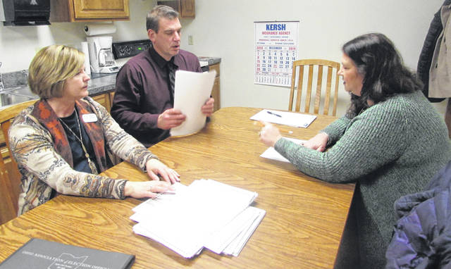 From left Tuesday night at the Putnam County Board of Election office doing a recount for the Pandora-Gilboa school board seats are Karen Lammers, Putnam BOE director, Kurt Schloff, BOE president and Carla Tooman, BOE board member.
