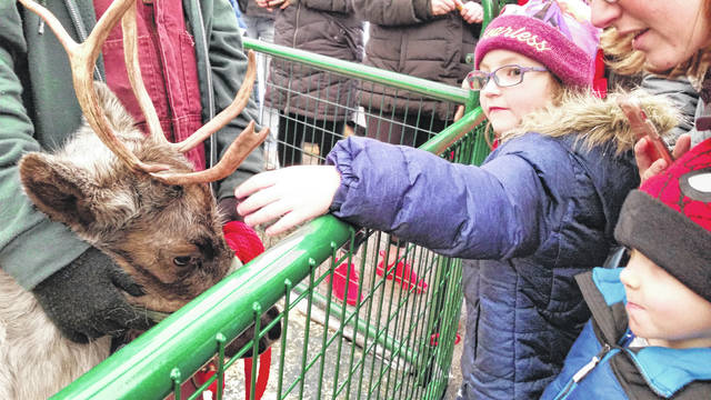 Isabelle Kerns reaches out to pet one of Santa's reindeer, while her brother Gabriel looks on Sunday at a Lima Symphona Orchestra fundraiser at Shawnee Plaza.